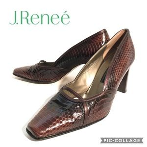 J. Reneé Brown Snakeskin Square Toe Heels Sz 10